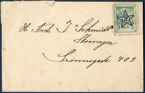 Vejle Bypost letter sent to Andr. J. Schmidt, Shoemaker, Grønnegade 409, Vejle. A local 1887 3 øre green cancelled with star-type canceller VB in the middle, VB: Vejle Bypost. Extremely rare letter.