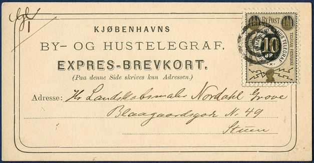 10 øre grey/black/golden TELEGRAM FRIMÆRKE on dated EXPRES-BREVKORT dated 4 February 1881. Cancelled with 3-ring cancel, excellent condition.