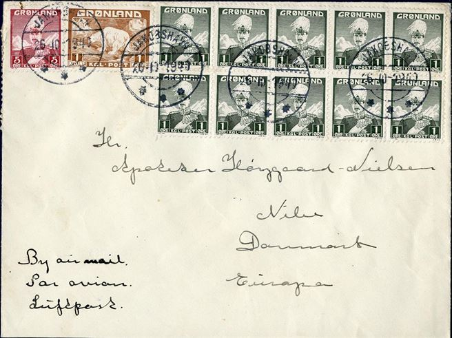 Air mail letter sent from Greenland to Denmark 26 October 1940 via USA-Lissabon, German censorship Frankfurt (Hopballe label 34.03), bearing a block of 10 of 1 øre stamps, 5 øre and 1 kr. Polar Bear, overpaying the letter with 10 øre.