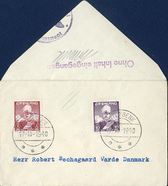 "Surface letter sent from Ritenbenk to Varde 17 October 1940 bearing 5 and 10 øre Kings issue tied by Ritenbenk CDS. 20 øre letter rate underfranked by 5 øre, postage due double and 10 øre marked on the front. German censorship and line mark ""Ohne Inhalt eingegangen"". Philatelic item."