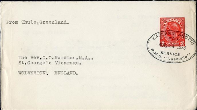 "Canadian 3c stationery written in Thule, Greenland aboard the ""Eastern Arctic - Mail Service - R.M.S. ""Nascopie - AUG 24 1938"" cachet stamped on the 3c Canadian stamp and sent to England, and with the card written inside. Rare example of a Canadian stamp used in Greenland."