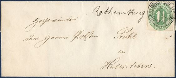Lettersheet from Rothenkrug 21 July 1864 to Hadersleben, in the Duchy of Schleswig. 1 1/4 Schilling HERZOGTH-SCHLESWIG green and cancelled with postmark from the occupying Prussian forces 'K:PR:FELDPOST-RELAIS No. 16.' Only recorded town manuscript 'Rothenkrug' and only recorded example of 'K:PR:FELDPOST-RELAIS No. 16.', furhtermore here used as a extremely rare cancelling of a postage stamp.