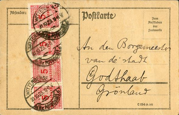 Postcard sent from Wittenberge (Potsdam) 31 October 1923 to Godthaab bearing fur 5 MILLIONEN inflation stamps tied by Wittenberge CDS. Rare destination for an infla cover.