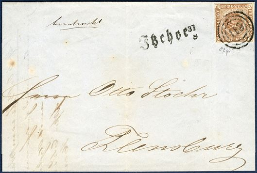 Letter from Itzehoe 31 August 1854 to Flensburg. 4 RBS Thiele III olivebrown tied by numeral cancellation '19' alongside provisional straight-line mark 'Itzehoe 31/8' known from 21.8 - 6.9 1854. A clean strike of a very rare postmark.