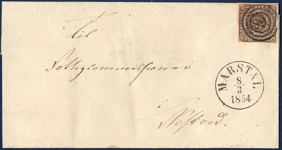 Letter from Marstal 8 March 1854 to Næstved. 4 RBS THIELE II blackish brown cancelled with numeral '89' alongside cds 'MARSTAL 8/3 1854'. A rare letter.