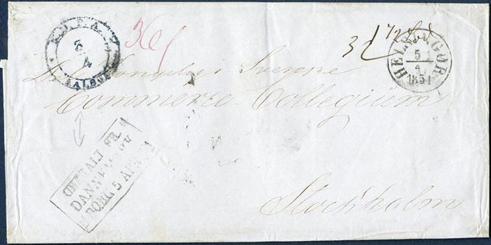Unpaid letter from Aalborg via Helsingør 3 April 1851 to Stockholm, with K.D.P.A. AALBORG 3/4  ANTIa-U,  blue ink not recorded by Vagn Jensen after 1 april 1851, presumably blue ink used since blue ink pad's were supplied for the cancellation of the 4 RBS adhesive, blue ink only in use until 7 April 1851. Transitmark HELSINGØR 5/4 1851. Charged 36S Skilling Swedish.