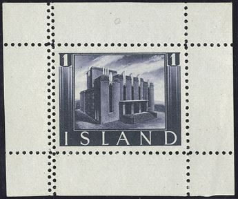 Leifr Eiricssons Day 1938, 1 (KR) The National Theatre of Iceland in Reykjavik, greylilac, with full margins on all 4 sides, perforated, with double perforation on the left side. Halftone recess printing by Staatsdruckerei, Wien. As small single stamp sheet extremely rare.