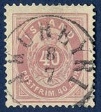 40 aur lilac 1891, III printing. Cancelled with cds 'akureyri 8/7'. SUPERB.