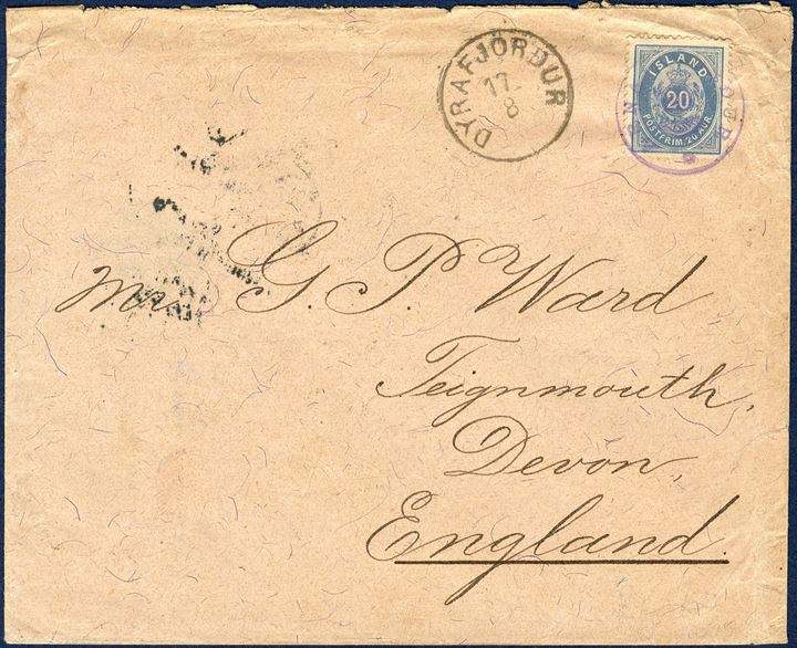 Letter from Arnarfjördur 17 August 1897 to Teignmouth, England. 20 aur oval type perforation 12 3/4, II printing. Cancelled with crown cancel 'ARNARFJÖRDUR' alongside LAP 'DYRAFJÖRDUR 17/8', backstamped 'EDINBURGH AU 29 97' and 'TEIGNMOUTH AU30 97'. 20 Aur UPU letter rate, correct franking.