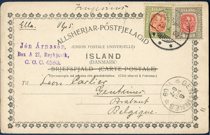 Postcard from Reykjavik 29 April 1909 to Gentinnes, Belgium. 1 Eyr and 4 aur Two-King's issue tied with 'REYKJAVIK 29.4.09' and 'GENTINNES 6 MAI 6-7 1909', sent at 5 aur printed matter rate.
