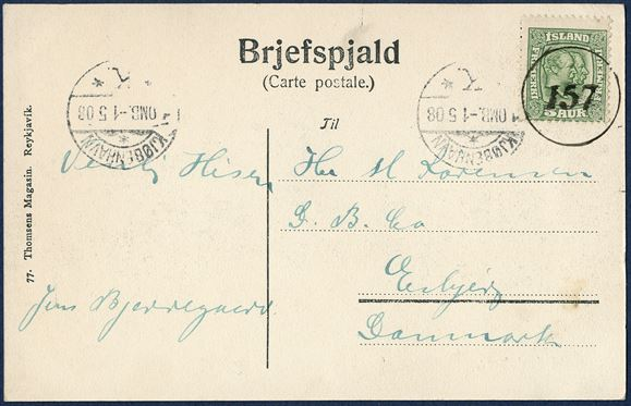 Postcard from Hafnarfjördur April 1908 to Esbjerg, Denmark. 5 aur Two-King's issue tied with numeral '157' HAFNARFJÖRDUR and 'KJØBENHAVN K 1 OMB. - 1 5 08', sent at 5 aur printed matter rate.