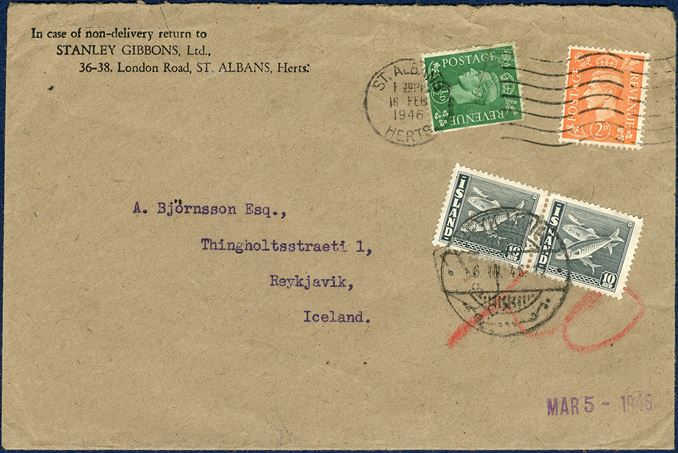 Insufficiently paid letter from St. Albans 16 February 1946 to Reykjavik, Iceland. British 1/2d and 2d stamps, insufficiently prepaid, stamped 'T' and charged '20' red crayon. In payment for the postage due two ordinary postage stamps of 10 aur herring grey were used to charge the due of 20 aur and stamped 'REYKJAVIK 6.III.45. Extremely rare with ordinary stamps used as postage due, even though that Iceland never issued postage due stamps.