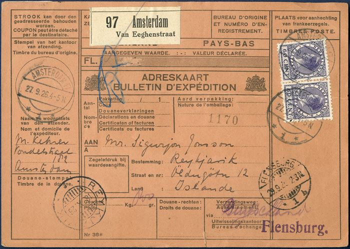 Parcel card from Amsterdam 27 September 1926 to Reykjavik, Iceland. Two 60 CENT Queen Wilhelmina cancelled with cds Amsterdam, vertical fold in card affecting lower stamp on the card. Rarely seen destination for parcelcards from The Netherlands at this time period.