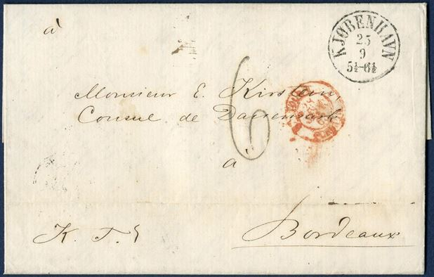 Royal Service letter from Copenhagen 25 September 1863 to Bordeaux, France. Sent from the Ministry of Foreign Affairs to the Consular of Denmark, E. Kirstein in Bordeaux. Via TT Hamburg and charged – 6 taxe chiffre – décimes by the addressee.
