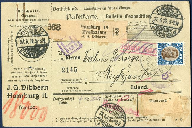 Parcel card from Hamburg 27 June 1922 to Reykjavik, Iceland. Prepaid in cash, no German stamps. Charged with Icelandic 1 kr. King Christian X and cancelled with datestamp 'REYKJAVIK 17.VII.22', with the stamp used as TOLLUR but cancelled with ordinary postmark.