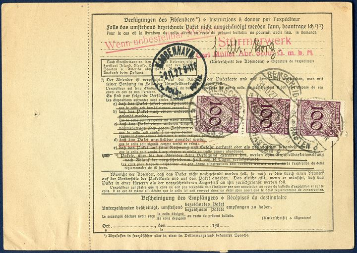 Parcel card from Remscheid 31 October 1927 to Reykjavik, Iceland. Deutsches Reich with two 100 pf (MI 343) and three on the back (one defect) and 40 pf Leibniz (MI 395) cancelled 'REMSCHEID 31.10.1927'. Rare destination.