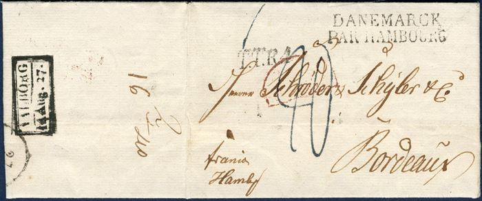 Franco Hamburg letter from Aalborg 14 August 1827 to Bordeaux, France. Postmarked boxed RAM-2 – AALBORG 14 Aug.27. – Via Hamburg – DANEMARCK / PAR HAMBOURG – and – T.T.R.4 – Thurn & Taxis Oberpostamt. Red Frendch border mark, Paris Transitmark. Postage due 20 decimes for the distance Hambourg-Bordeaux for letters of 7,5 gr. Danish List no. 16-40.