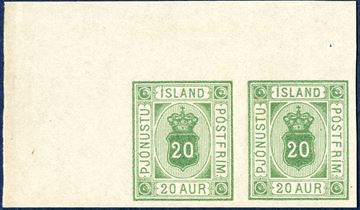 20 aur Pjónustu, green, colour proof on imperforate thin paper without watermark, pair with full corner sheet margin.