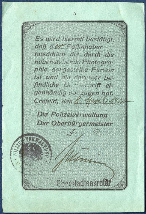 "Plebiscit ""Reise-Pas"" page 5-6 issued Hamburg and stamped with the large VISA mark ""Vised good for"" stay in Slesvig at the border crossing Frørup, 12th April 1920 and valid for stay in Slesvig until 25 June 1920. Plebiscit SLESVIG 5 MK used as fiscal duty stamp, cancelled with oval ""CIS 12. APR. 1920 SLESVIG""."