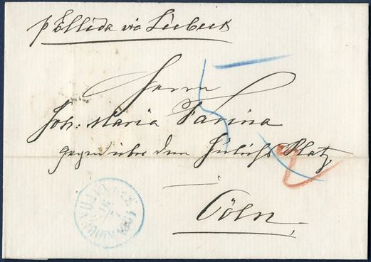 Unpaid letter sheet from Copenhagen 16 July 1864 via Lübeck to Cologne, Germany. Posmarked – KIØBENHAVN O.P.E. 16/7 1864 – blue ink struck on front, transit mark – LüBECK 17/7 S.P.A. – and receiving mark COELN 18/7 on reverse. Routing instruction – p. Ellida via Lübeck – a ship owned by Hallandske Steamship Company sailing on Lübeck, Circ. 12/1864, announcing 6 weekly sailings, from 25 May Circ 14/1864 daily sailings to Lübeck.