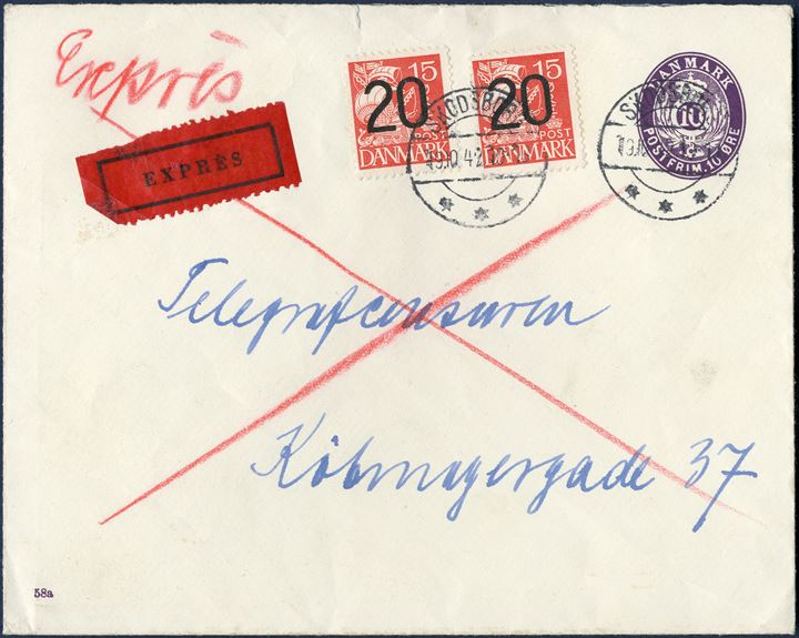 Express letter from Skodsborg 19 October 1942 to TELEGRAFCENSUREN, Købmagergade 37, København. 10 øre stationery envelope uprated with two 20/15 øre provisional, sent express. The department was responsible for censoring the telegraph communication during WWII.