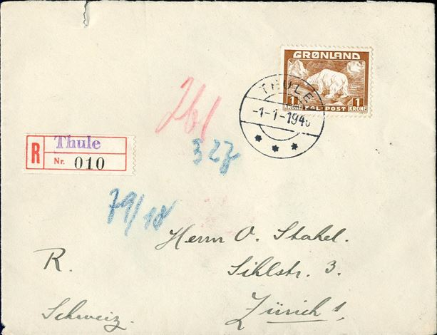 Registered letter sent from Thule to Zurich, Switzerland 1 January 1940 bearing a 1 kr. Polar Bear tied by Thule CDS. Censored in Berlin. Correct rate, 25 øre registration fee and 75 øre 4th letter rate (60-80 gramms), total 100 øre. Correct franking.