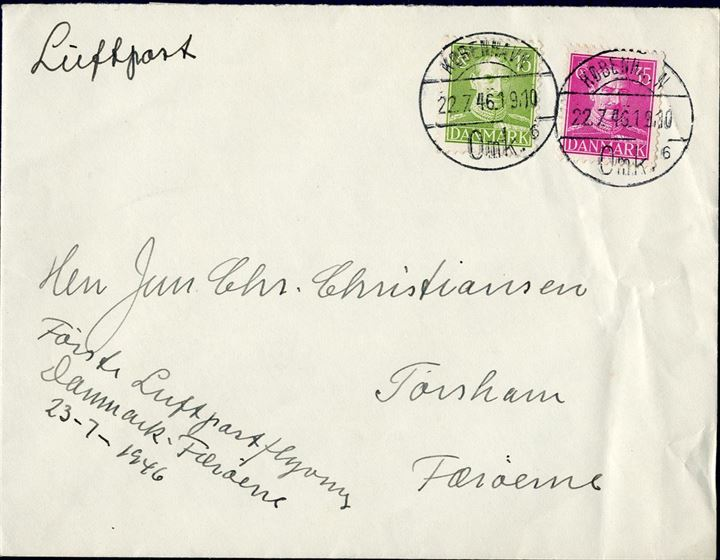 Air mail letter sent from Copenhagen to Thorshavn, Faroe Island with the first air mail service flight 23 July 1946.