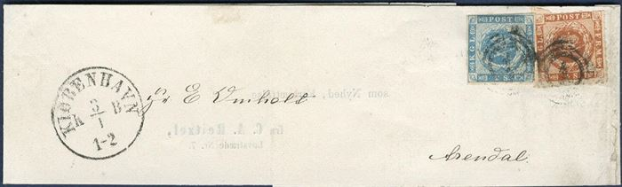 "Printed matter wrapper band sent from Copenhagen to Arendal, Norway 3 January 1864 bearing a 2 sk. 1855 and 4 sk. rouletted 1863 tied by numeral ""1"" Copenhagen alongside Copenhagen KB cds. 6 sk. rate for printed matters to Norway. Rare type of letter of which only a few wrapper bands are recorded to foreign destinations."
