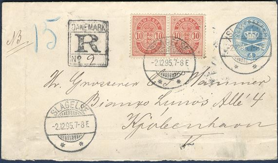 10 øre small corner figures in pair on 4 øre envelope from Slagelse to Copenhagen December 2, 1895. Small corner figures with cornerfold, but still a fine cover and extremely scarce.