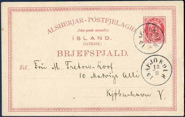 10 aur postal card sent from Isafjördur to Copenhagen 13 August 1908. On the back of the card there is a topographic photo attached and for which reason the card most likely should have been charged as a letter.