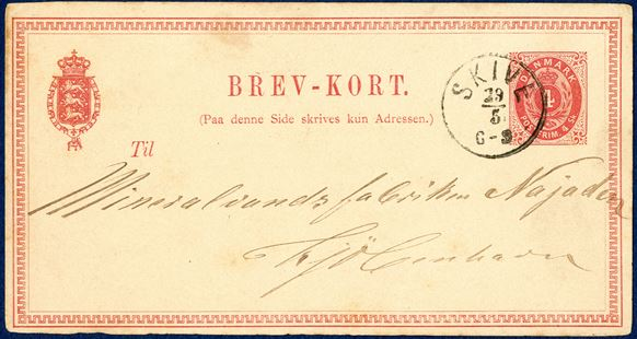 4 sk. BREV-KORT from Skive 29 June 1875 to Copenhagen. Skilling/Øre usage with 4 sk. paying 8 øre domestic post card rate. The 4 sk. card was used from 1.4.1871 paying for the 4 sk. domestic postcard rate, after 1.1.1875 - 4 sk. corresponded to 8 øre and paying the correct postcard rate. A beautiful piece in every respect.