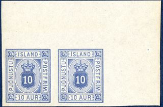 10 aur Pjónustu, ultramarine, colour proof on imperforate thin paper without watermark, pair with full corner sheet margin.