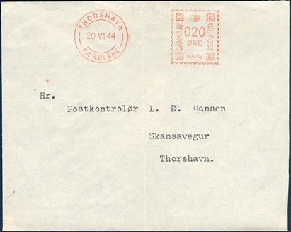 Thorshavn Meter marks, 5 and 20 øre on philatelic envelopes, all FDC cancels 20th June 1944.