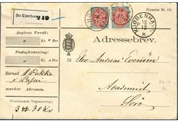 Parcel letter from Thorshavn 12 December ca. 1888-99 to Sorø, Denmark. Franked with pair 12 øre inverted frame tied by grotesque 'THORSHAVN 30/11' and receiving cds 'KJØBENHAVN PP 12/12 K', one parcel weighing 3π 30 kv., parcel registration label 'Fra Thorshavn 249'. Receiving cds 'SORØ 123/12 2 POST' on reverse.