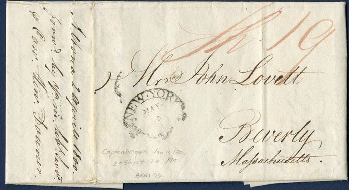 Duplicate letter dated Copenhagen 11 January 1800 and sent to Massachusetts, USA. Being a duplicate letter, it was forwarded from Altona 2 April 1800. New York arrival mark May 10 stamped on front.