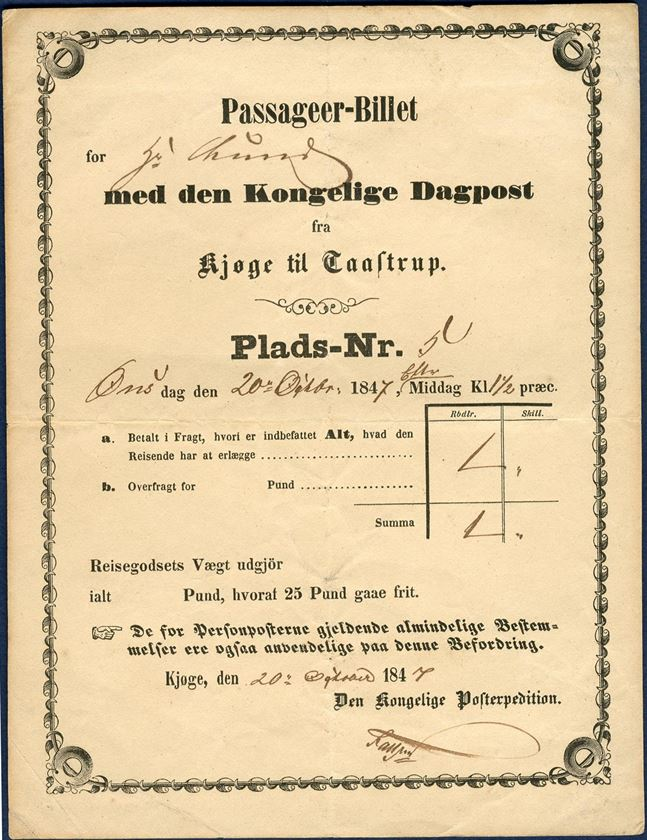 Passenger-Ticket with the daily mail-coach from Kjøge to Taastrup, dated Wednesday 20 October 1847.