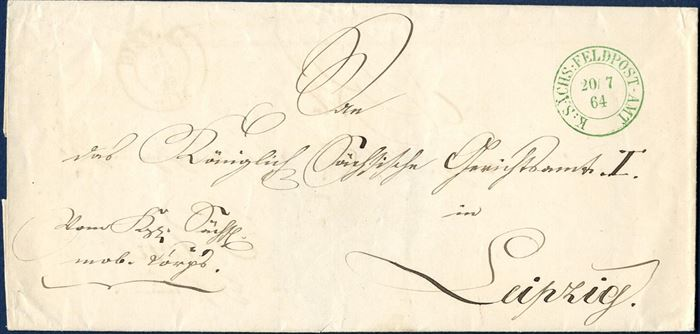 "Military letter sent from Plön to Leipzig 20 July 1864 by the Royal Saxony Fieldpost, stamped on front with green ink ""K:SÄCHS:FELDPOST-AMT"" and maunuscript on front ""Vom Königl. Sächs. mob. Corps."" Rare postmark."