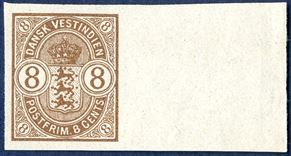8c Coat of Arms issue 1902, imperforate colour proof with sheet margin on creamy white paper, without watermark.