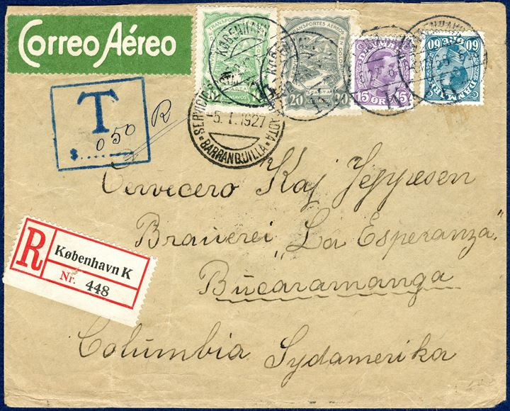 Registered SCADTA letter sent from Copenhagen 6 December 1926 to Bucaramanga in Columbia, franked with 15 øre and 60 øre King Chr. X alongside 10 and 20 Centavos SCADTA adhesives, all tied by Copenhagen datestamp, prepaying the Columbian air mail rate. Registration fee 25 øre plus 30 øre letter rate and additional 20 øre for 2nd rate (per 0-20 gram). In Columbia additional chareged and stamped boxed 'T $ 0,50 R'. An extremely rare SCADTA letter. On the back of the letter a DANISH CHRISTMAS SEAL 1926 tied with TPO 'Hamburg-Saßnitz' and Columbian reception mark. RARE.