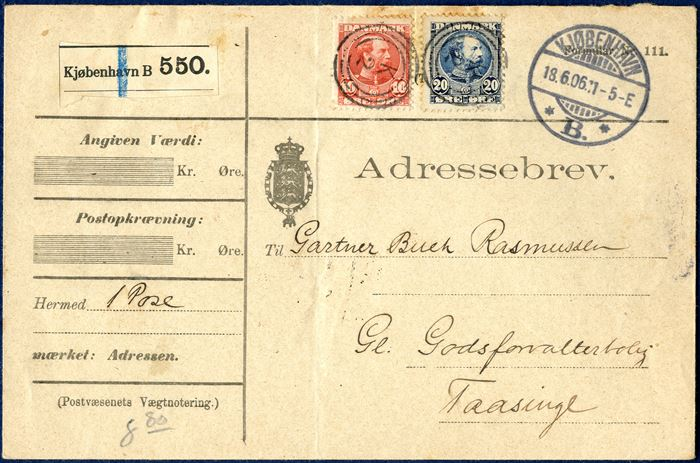 Parcel letter (Adressebrev) 8,80 kg. from Copenhagen Railroad station 18 June 1906 to Taasinge. 20 øre blue King Chr IX and new engraving 10 øre red, tied by 3-ring 'K 2' Esrom type  alongside swiss type 'KJØBENHAVN 18.6.06 11-5-E *B.* ', parcel label 'Kjøbenhavn B 550.' and backstamped 'TAASINGE 19.6.06 7-8F'. Vagn Jensen recorded from 3.3.1910 - 5.10.1916, this letter is postmarked June 1906.