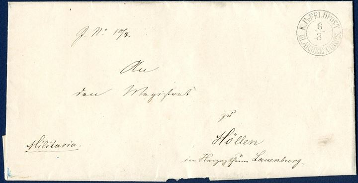 "Military letter sent from Gravenstein to Höllen in Lauenburg 6 March 1864, stamped  on front with the two-ring ""K.PR.FELDPOST - III. ARMEE CORPS CORPS."", with full contents."