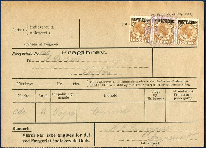 "Freight Bill for two empty ""wagons"" bearing a 3-strip of 1 Kr. King Chr. X tied by two-ring mark ""AGGERSUND FÆRGERI"". Scarcely seen, as mixed franking are the most commonly seen."