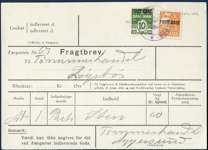 "Freight Bill for a load of stones weighing 60 kgs bearing a 10 øre wavy-line and 30 øre Caravel POSTFÆRGE overprints, tied by two-ring mark ""AGGERSUND FÆRGERI"". Sent from Aggersund to Løgstør."