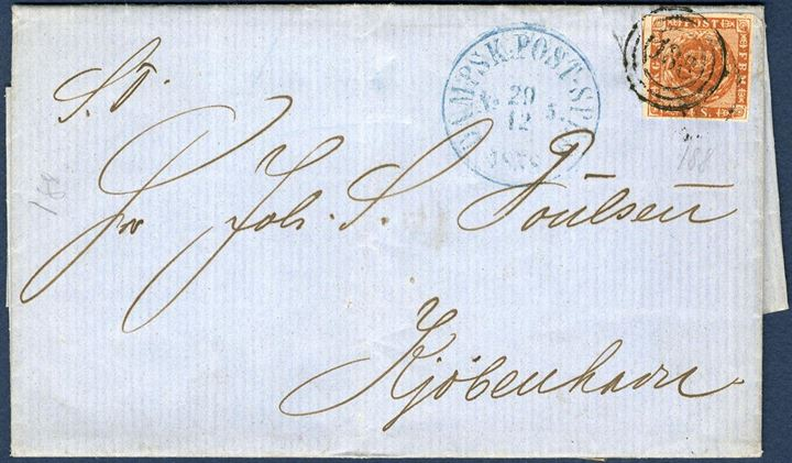 "Letter sent from Aarhus to Copenhagen 29. December 1858 bearing a 4 sk. 1858 wavy-line issue tied by numeral ""188"" alongside CDS ""DAMPSK:POST-SPED. No. 5, 29/12 1858"" in blue. Most likely posted aboard the steamer in Aarhus and then brought into Korsør from where it was sent to Copenhagen."