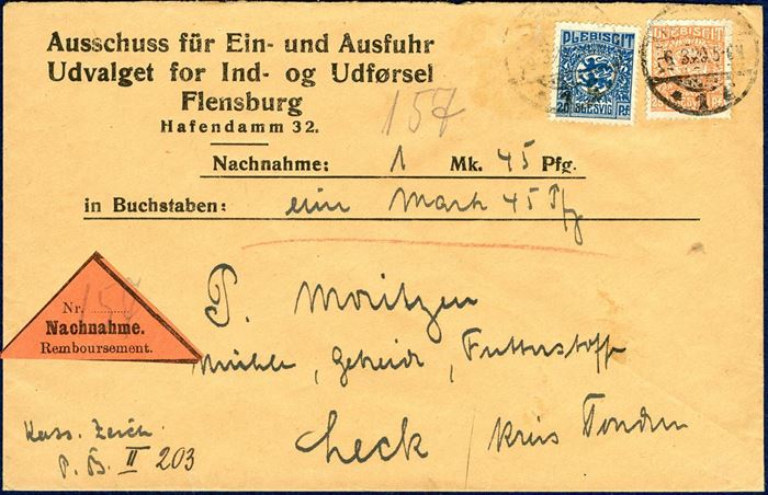 Money order for 1 Mk. 45 pf sent from Flensburg to Leck 6 March 1920, bearing a 20 and 25 pf Plebiscit tied by CDS Flensburg. Letter rate 20 pf plus 25 pf for Nachnahme, correct 45 pf franking.