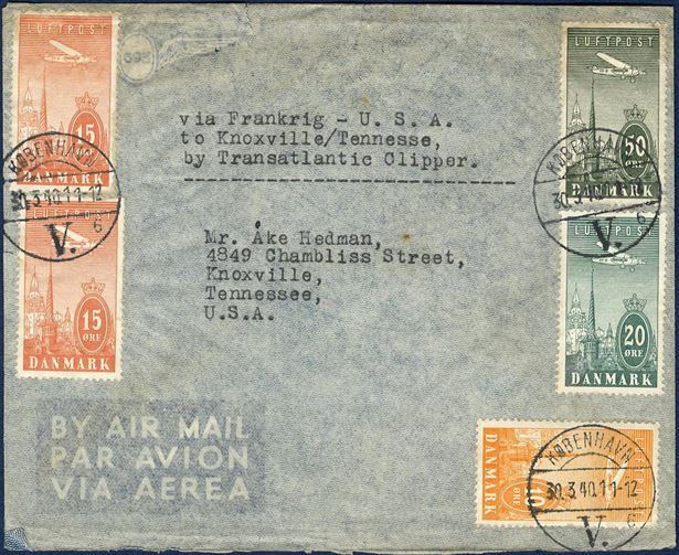 "Air mail letter sent from Copenhagen to Knoxville, USA on 30 March 1940 bearing a 10 øre, 20 øre, 50 and two 15 øre air mail stamps, paying 30 øre foreign rate plus 80 øre air mail surcharge. Sent ""via Frankrig"", this route ceased 9 April, when Denmark was occupied by Germany."