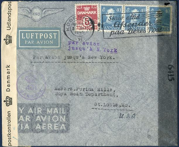 "Airmail letter sent from Copenhagen to St. Louis 3 July 1945 bearing correct postage of 125 øre, foreign rate 40 øre plus 85 øre airmail surcharge. Stamped 2-line ""par avion - jusqu' à N. York."" - Rarely seen routing mark on letters. Danish and US censorship."