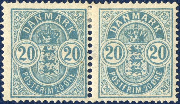 20 øre Coat-of-Arms issue 13. printing 1891 with large + small corner figures. Position A67-68, the small corner figures being pos. 68. Unused.