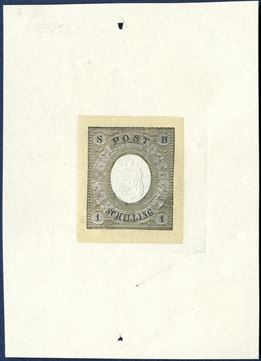 "1 Schilling Essay 1850 on large piece. The stamp design has been printed in black on a dull khaki burelage and colourless centre, and a negative white appearance of the text ""SCHLW.-HOLST.POSTSCHILLING"", corner figures on shaded background. Almost similar to Krötzsch no. 4. Very fine embossed coat of arms in the centre. Rare."