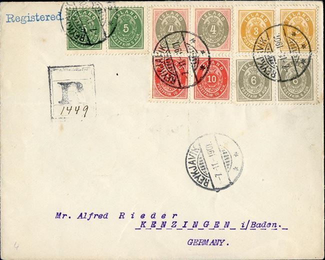 Registered letter sent from Reykjavik to Kenzingen in Germany 7 November 1901, bearing a franking of 56 aur, 40 aur second letter rate plus registration fee of 16 aur. Franked with pairs of 5 aur 1896, 4 aur1900, 3 aur 1901 (large 3), 10 aur 1897 and 6 aur 1897. Transit mark Christiania 16 November 1901. Colour full letter and unusual combination with 5 colour franking with all the stamps in pairs !